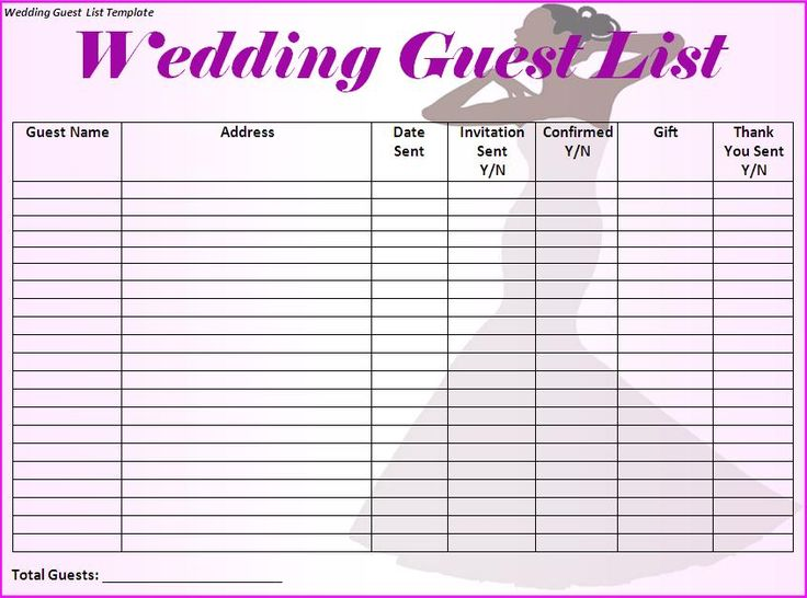 wedding printable guest list template