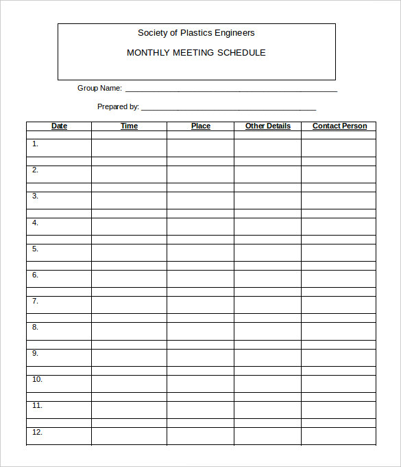 Free Monthly Meeting ScheduleTemplate