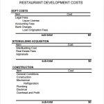Free Restaurant Development Budget Template
