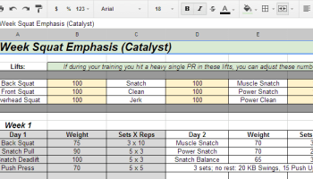 Week Squat Emphasis spreadsheet