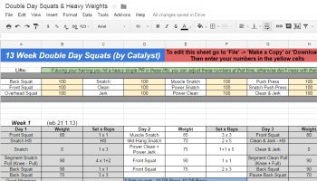 catalyst week double day squats weight