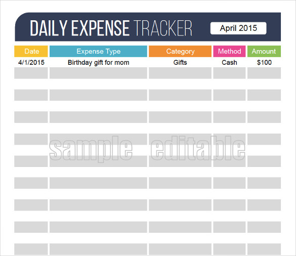 daily expense tracking excel spreadsheet