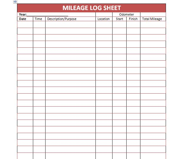 daily mileage log printable spreadsheet