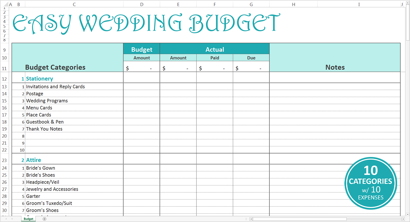 easy wedding planning spreadsheet