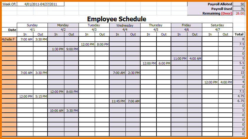 employee monthly schedule template free