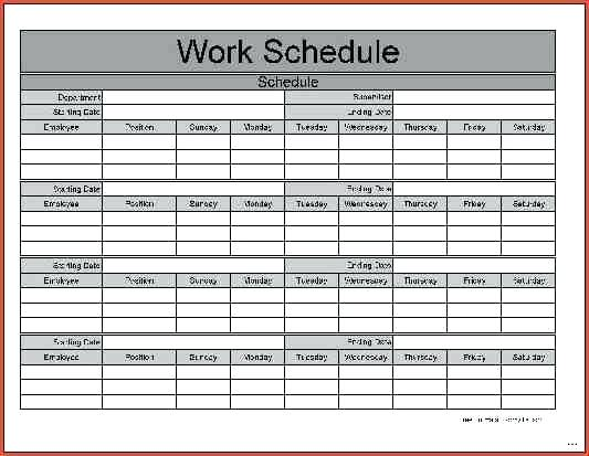 7 monthly work schedule spreadsheet