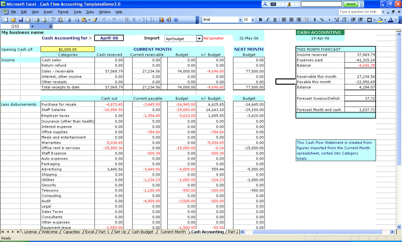 excel spreadsheet examples for accounting