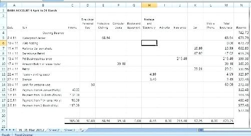 excel spreadsheet for business accounting