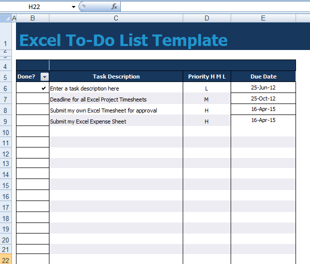excel to do task list template