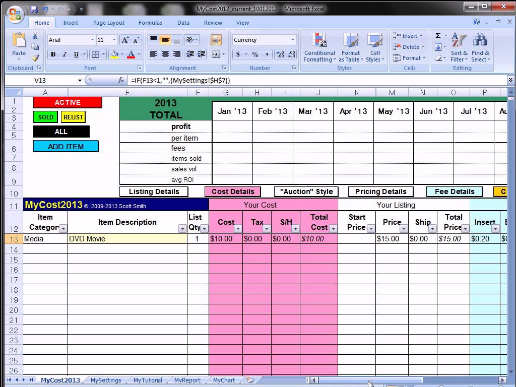 free ebay accounting spreadsheet