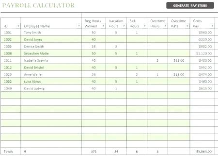 free payroll calculator template
