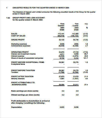 full format of income statement