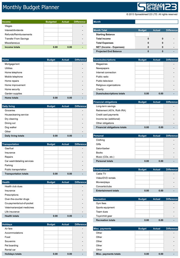 monthly simple budget template