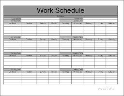 monthly work schedule template download