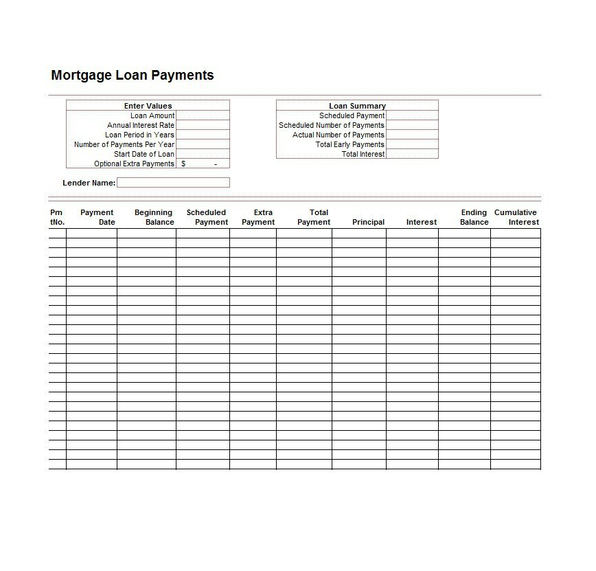mortagage loan calculator with extra payments to principal