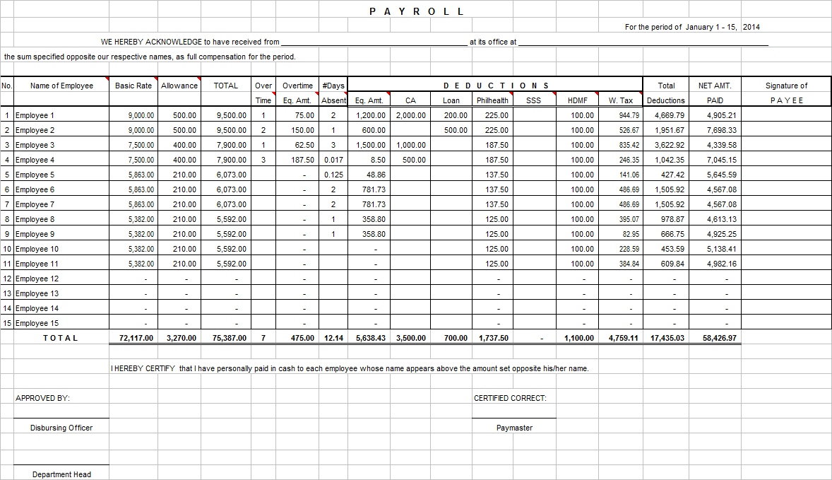 payroll excel sheet free download samplebusinessresume com
