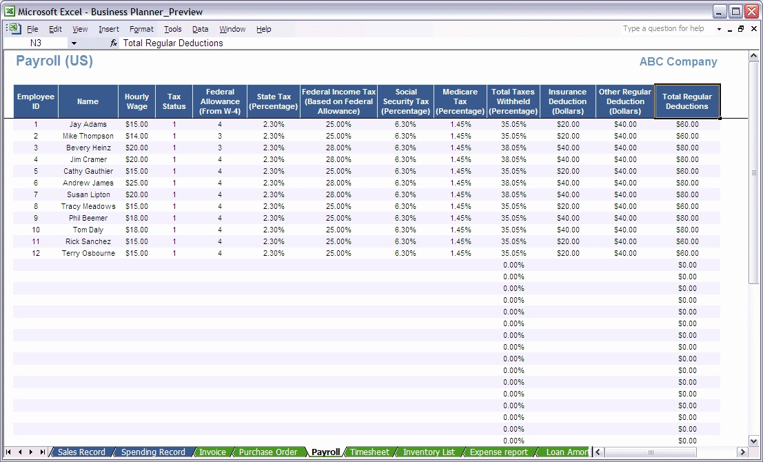 excel payroll spreadsheet Luxury Excel Business Planner Payroll Calculator