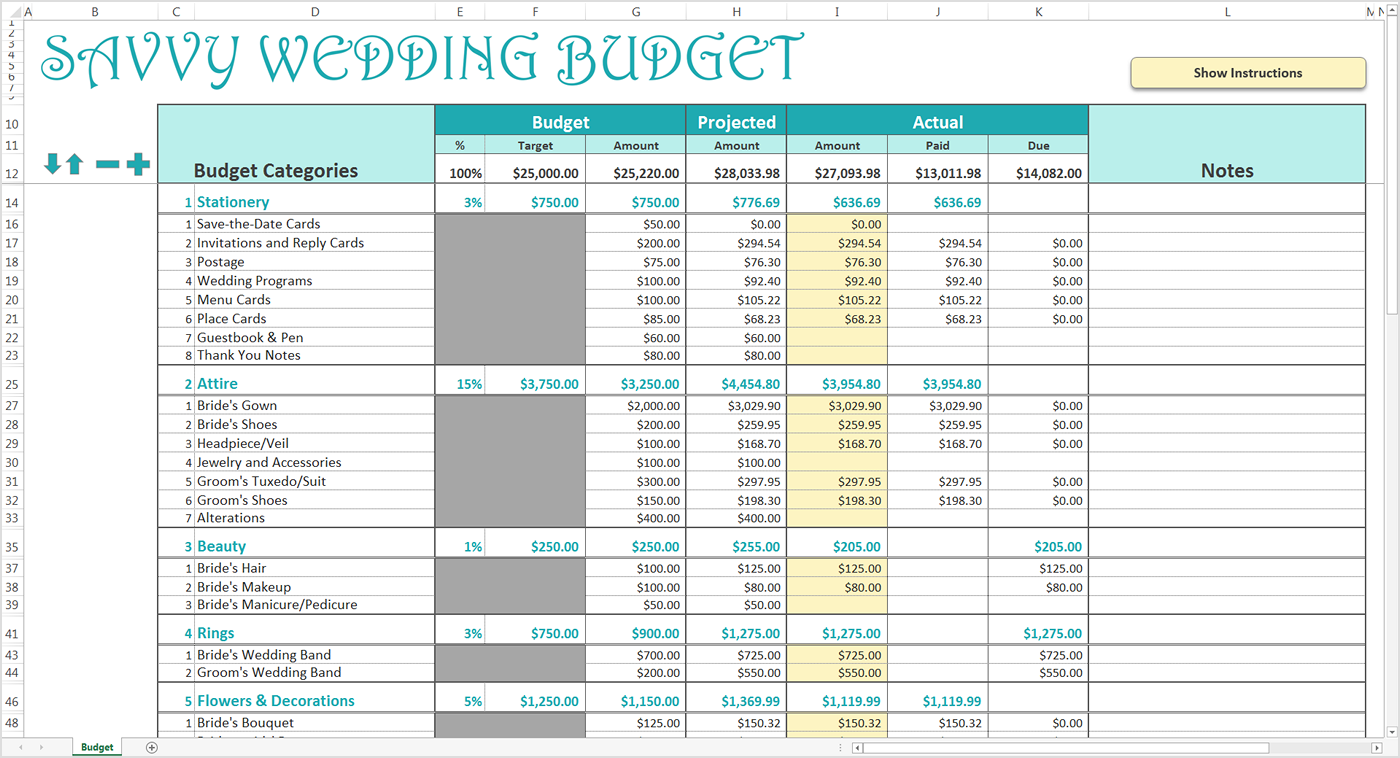 savvy wedding budget spreadsheet