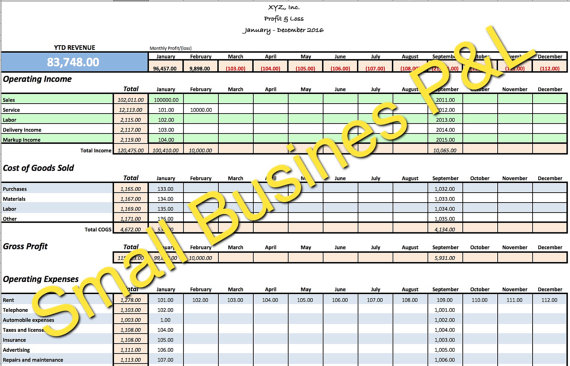 small business income and expense template