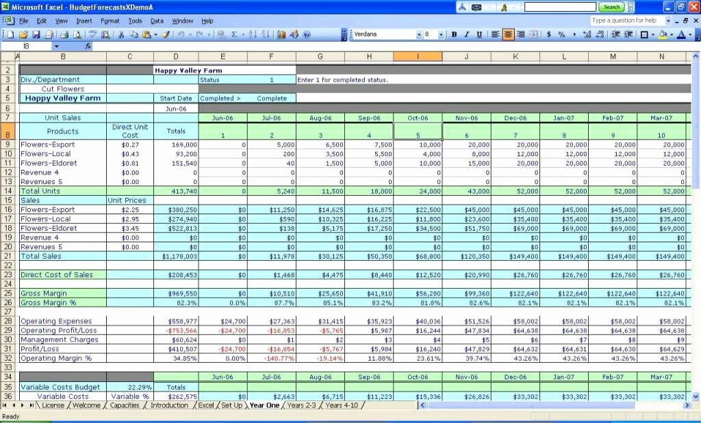 business income and expense spreadsheet