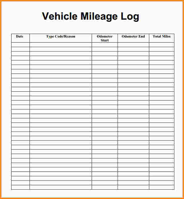 vehicle mileage log spreadsheet