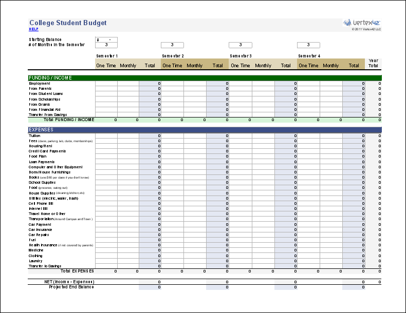college student budget template google sheets