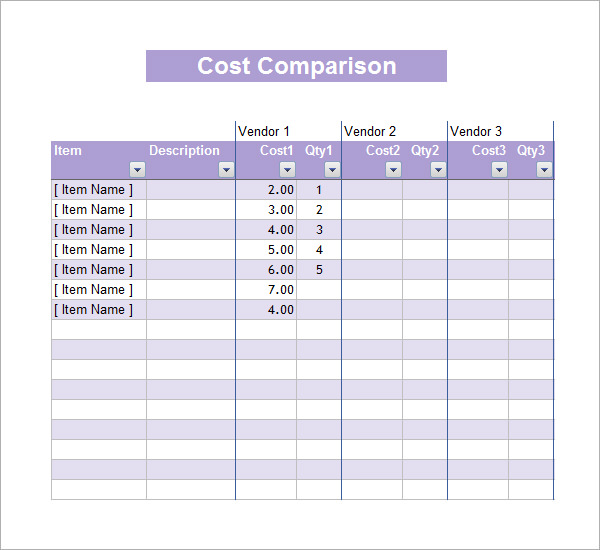 cost comparison excel spreadsheet templates