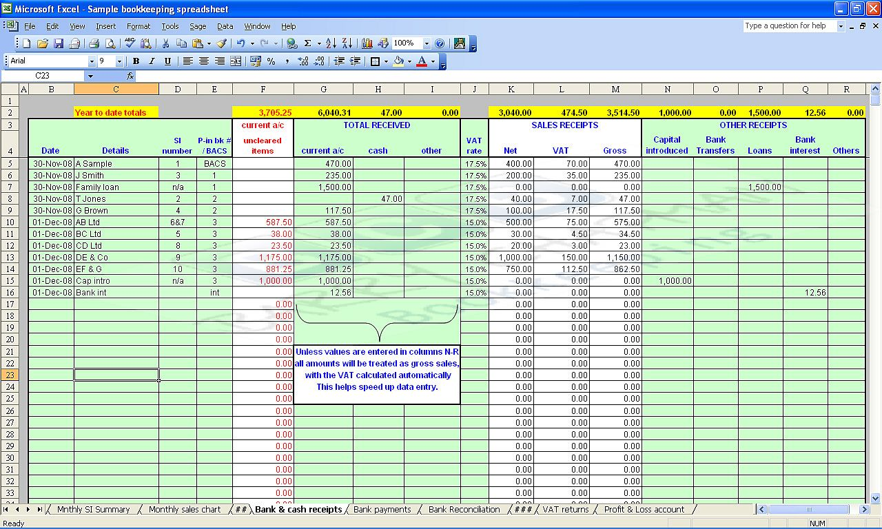 free home accounting spreadsheet
