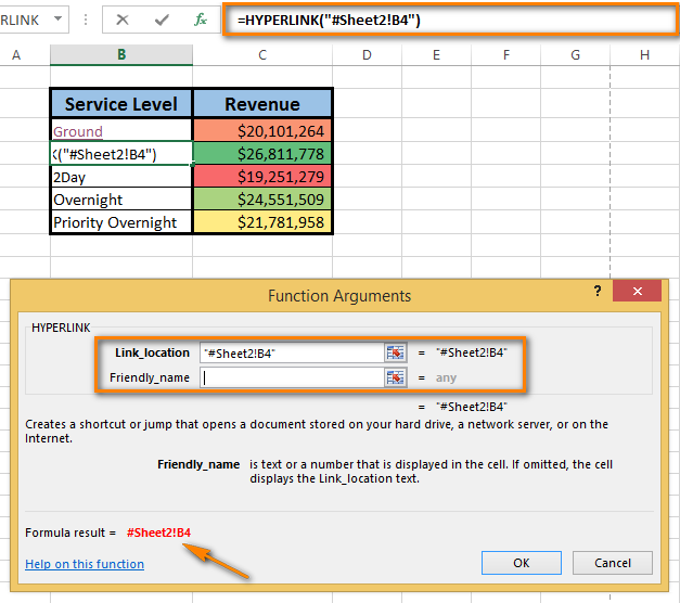how to link sheets in excel with a formula