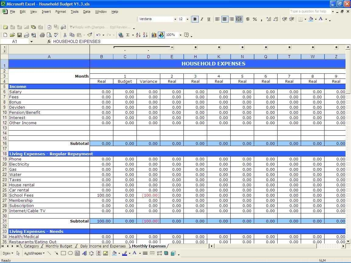small business spreadsheet for expenses