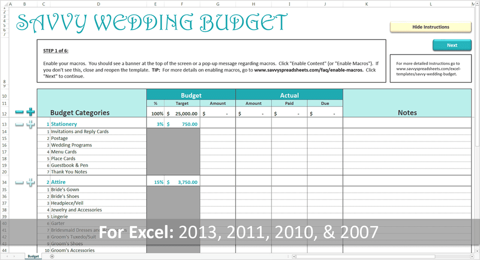 wedding planner excel free