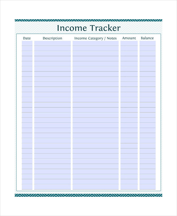 Income Tracker Monthly Budget Template