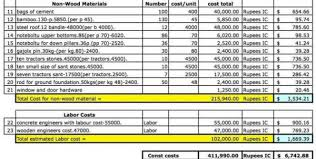 construction job costing spreadsheet free download