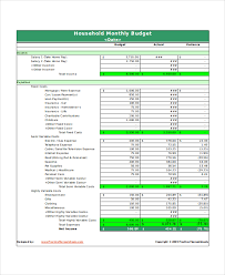 free household budget template download