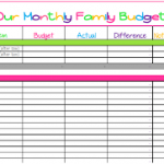 family monthly budget excel spreadsheet template download