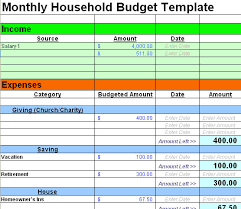 free monthly household budget template download