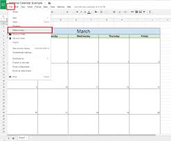google sheets monthly calendar template