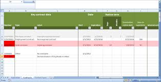 contract management spreadsheet examples download