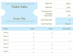 event ticket sales spreadsheet download