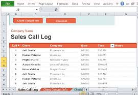 excel sales call log template download