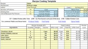food cost format download