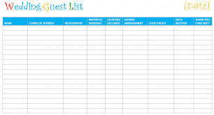 free wedding guest list spreadsheet download
