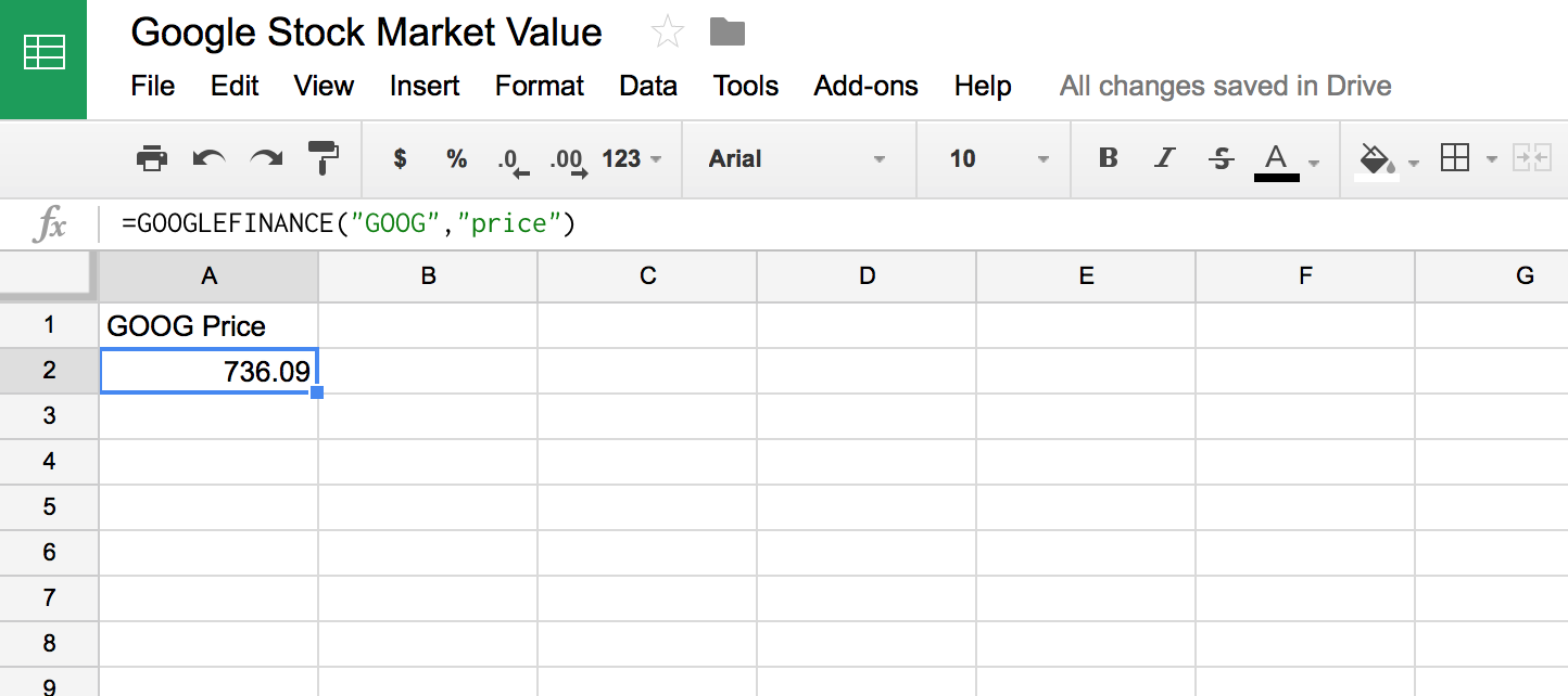 google sheets stock tracker