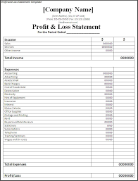 monthly profit and loss template excel download