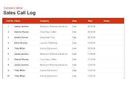outside sales call log template download