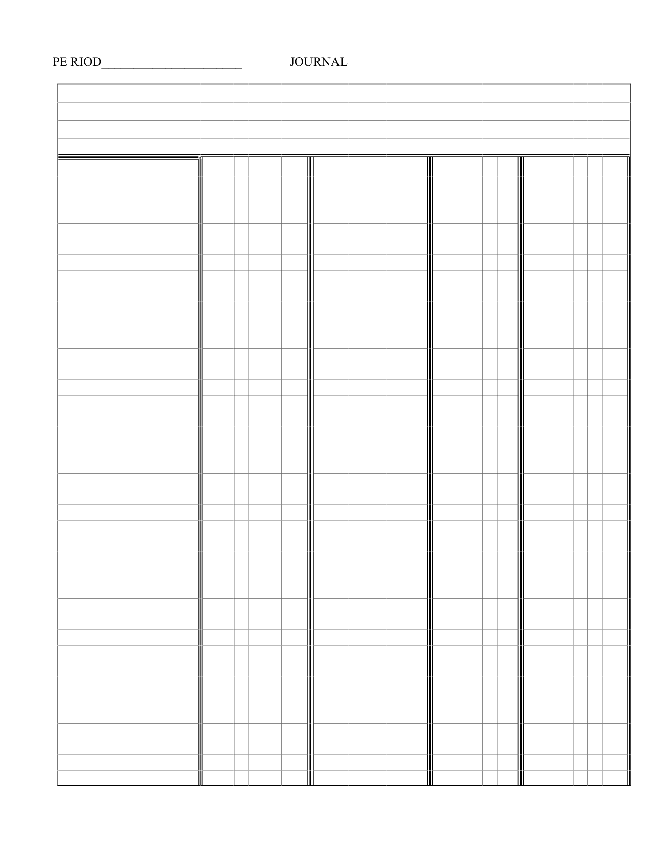 photo relating to Printable Column Paper named printable blank 5 column chart templates