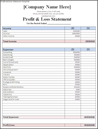 projected profit and loss statement template download