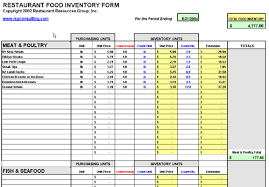 restaurant inventory food inventory spreadsheet download