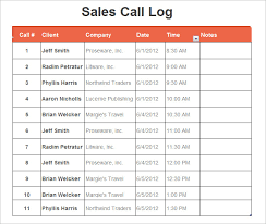 tracking sales calls spreadsheet free download