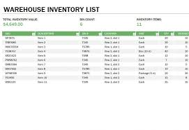 warehouse inventory list download